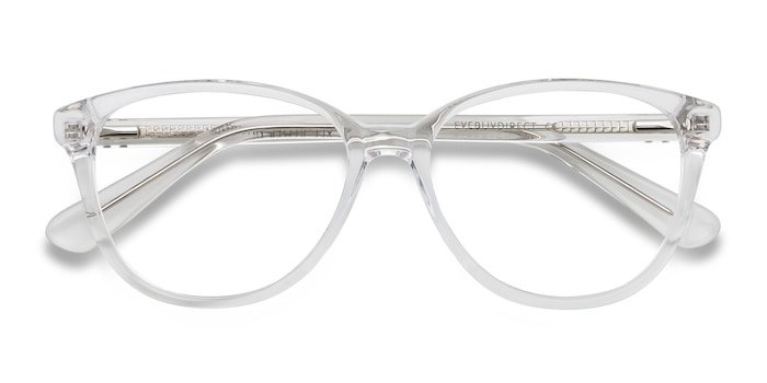 Hepburn | Clear/White | Women Acetate Eyeglasses | EyeBuyDirect