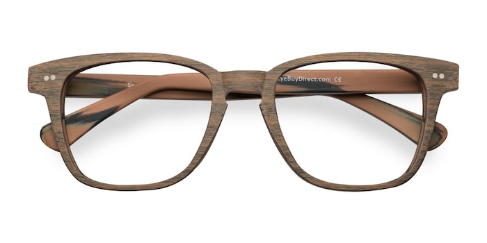 Brown Striped  Samson -  Wood Texture Eyeglasses