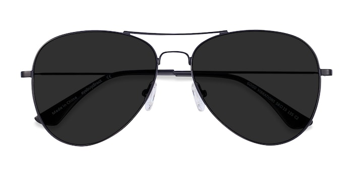 Black Good vibrations -  Vintage Metal Sunglasses