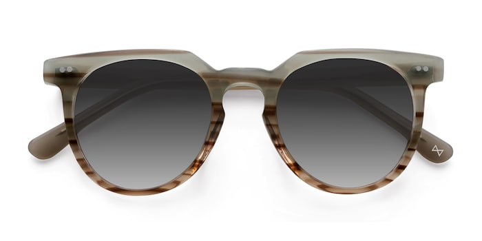 Striped Mint Shadow -  Vintage Acetate Sunglasses