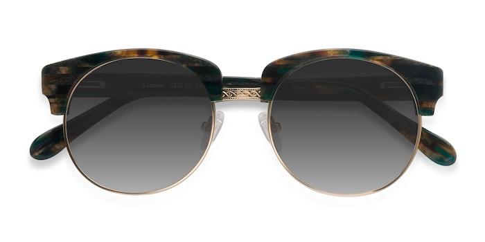 Green Striped  Simone -  Vintage Acetate Sunglasses
