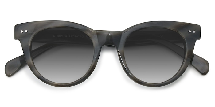 Gray Striped Divine -  Vintage Acetate Sunglasses