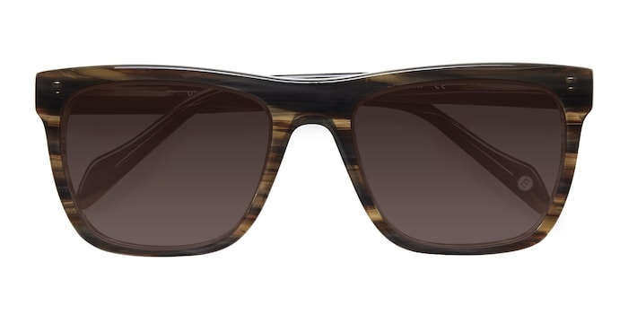 Brown Strip Virtual -  Acetate Sunglasses