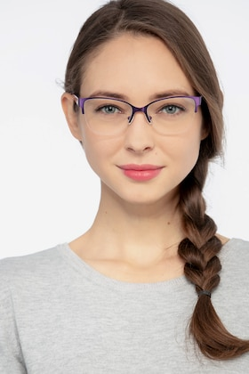 Purple Feline -  Vintage Metal Eyeglasses