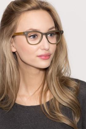 Matte Green Sahara -  Fashion Wood Texture Eyeglasses