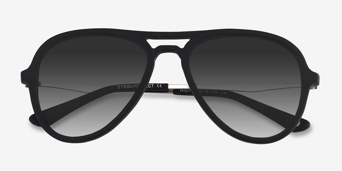8d6d7229a57e Riot - Aviator Matte Black Frame Sunglasses   EyeBuyDirect
