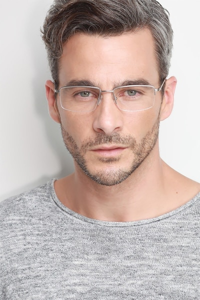 System Silver Metal Eyeglass Frames for Men from EyeBuyDirect, Front View