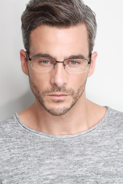 Axis Black Metal Eyeglass Frames for Men from EyeBuyDirect, Front View