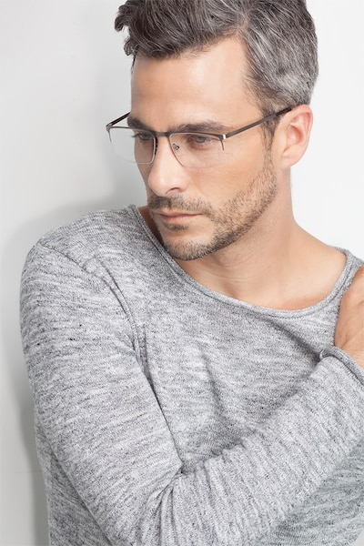 Wayne Gunmetal Silver Metal Eyeglass Frames for Men from EyeBuyDirect, Front View