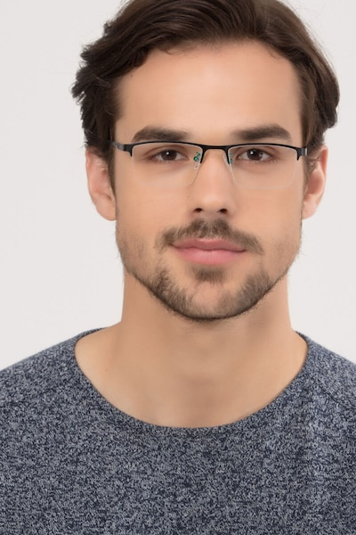 Algorithm Black Metal Eyeglass Frames for Men from EyeBuyDirect, Front View