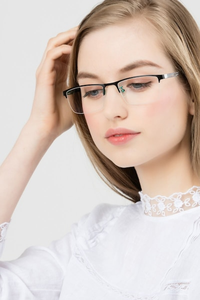 Algorithm Black Metal Eyeglass Frames for Women from EyeBuyDirect, Front View