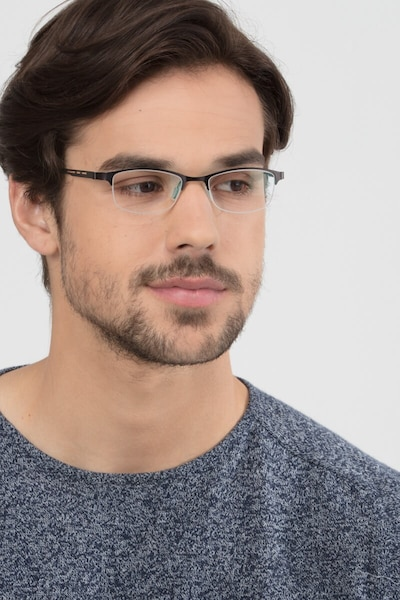 Pearl Black Metal Eyeglass Frames for Men from EyeBuyDirect, Front View
