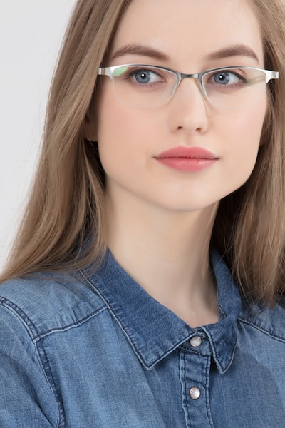 Pearl Silver Metal Eyeglass Frames for Women from EyeBuyDirect, Front View