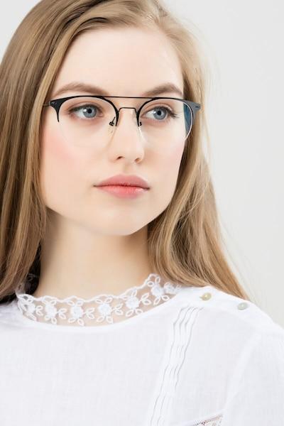 Ascent Noir Métal Montures de Lunettes pour Femmes d'EyeBuyDirect, Vue de Face
