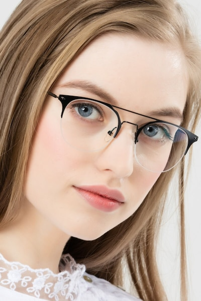 Ascent Black Metal Eyeglass Frames for Women from EyeBuyDirect