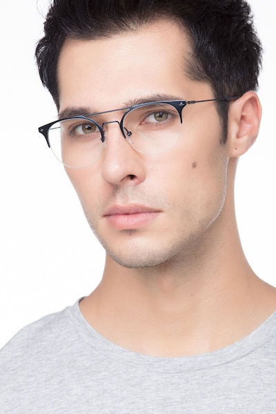 Ascent Navy Metal Eyeglass Frames for Men from EyeBuyDirect, Front View