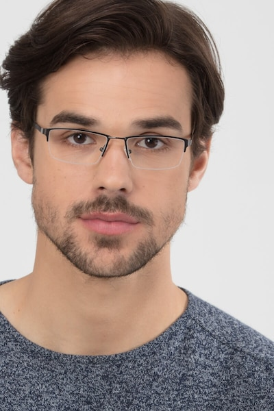 Bowler Gunmetal Metal Eyeglass Frames for Men from EyeBuyDirect, Front View