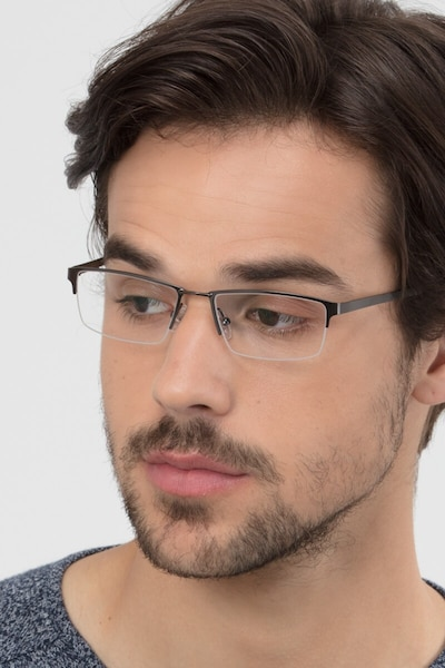Bowler Gunmetal Metal Eyeglass Frames for Men from EyeBuyDirect