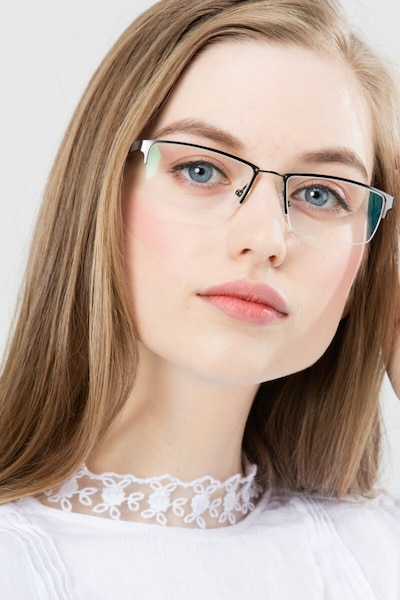 Bowler Gunmetal Metal Eyeglass Frames for Women from EyeBuyDirect