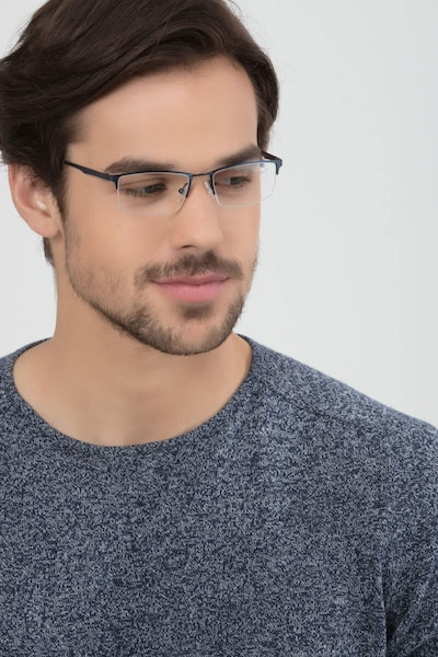 Furox Navy Metal Eyeglass Frames for Men from EyeBuyDirect, Front View