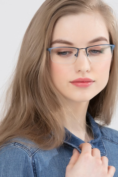Furox Navy Metal Eyeglass Frames for Women from EyeBuyDirect, Front View
