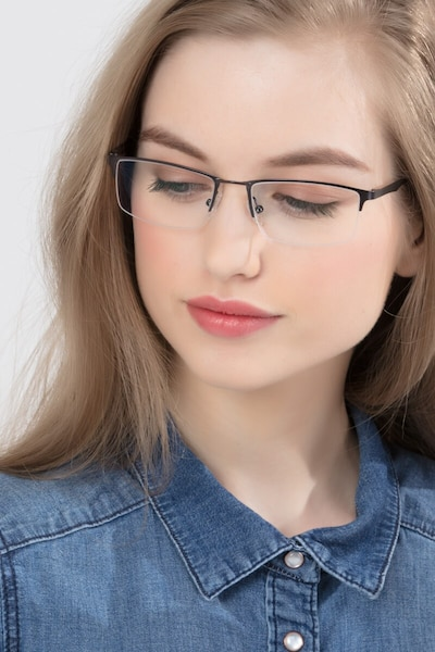 Furox Gunmetal Metal Eyeglass Frames for Women from EyeBuyDirect, Front View