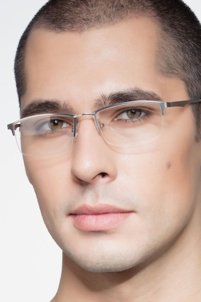 Furox Silver Metal Eyeglass Frames for Men from EyeBuyDirect