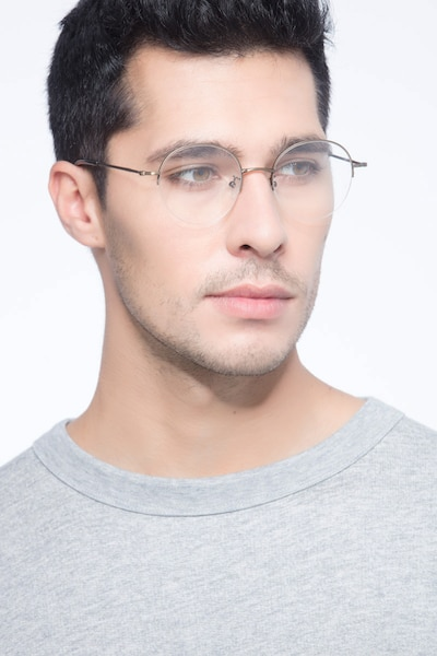 Albee Bronze Metal Eyeglass Frames for Men from EyeBuyDirect, Front View