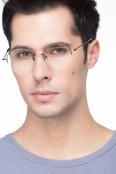 Albee Black Bronze Metal Eyeglass Frames for Men from EyeBuyDirect, Front View