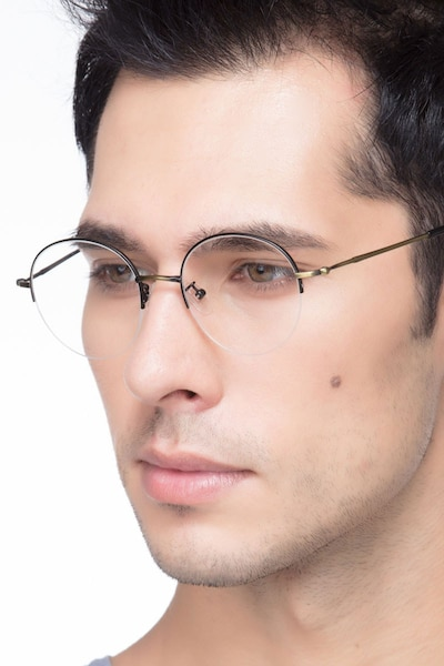 Albee Black Bronze Metal Eyeglass Frames for Men from EyeBuyDirect