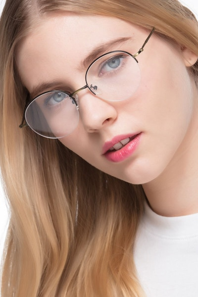 Albee Black Bronze Metal Eyeglass Frames for Women from EyeBuyDirect