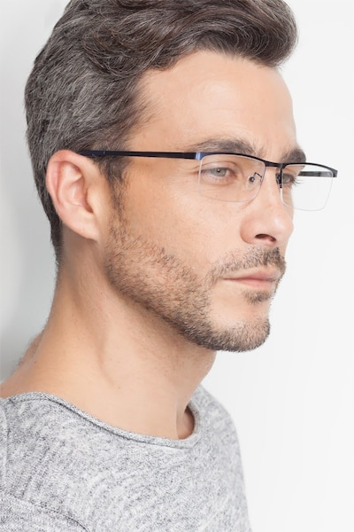 Chute Black Metal Eyeglass Frames for Men from EyeBuyDirect, Front View