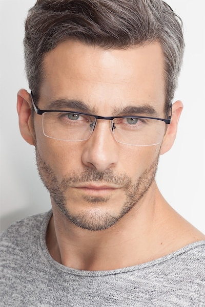 Chute Black Metal Eyeglass Frames for Men from EyeBuyDirect