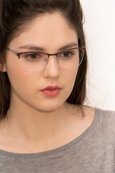 Lille Brown Metal Eyeglass Frames for Women from EyeBuyDirect, Front View