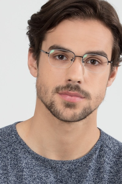 Munroe Black Metal Eyeglass Frames for Men from EyeBuyDirect, Front View