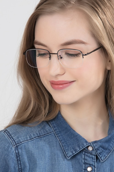 Munroe Black Metal Eyeglass Frames for Women from EyeBuyDirect