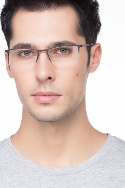 Variable Brown Metal Eyeglass Frames for Men from EyeBuyDirect, Front View