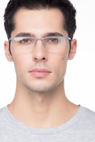 Variable Gray Metal Eyeglass Frames for Men from EyeBuyDirect, Front View