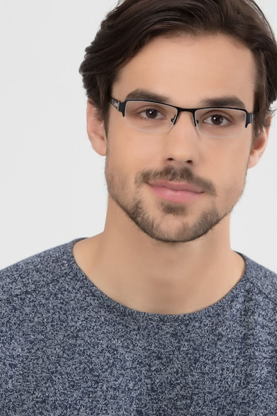 Vela Black Metal Eyeglass Frames for Men from EyeBuyDirect