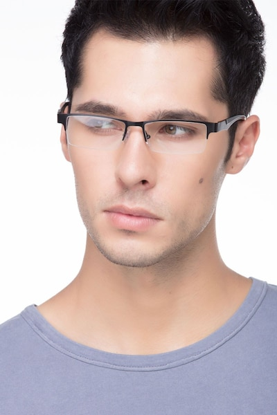 Macon Black Metal Eyeglass Frames for Men from EyeBuyDirect, Front View