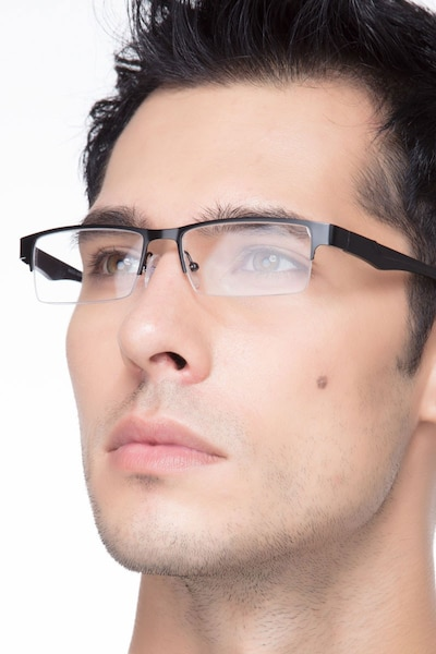 Macon Black Metal Eyeglass Frames for Men from EyeBuyDirect