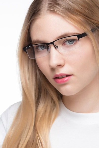 Macon Black Metal Eyeglass Frames for Women from EyeBuyDirect