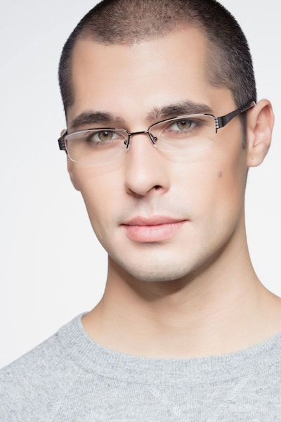 Kelly Black Metal Eyeglass Frames for Men from EyeBuyDirect, Front View