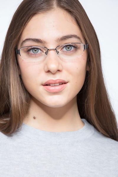 Kelly Noir Métal Montures de Lunettes pour Femmes d'EyeBuyDirect, Vue de Face