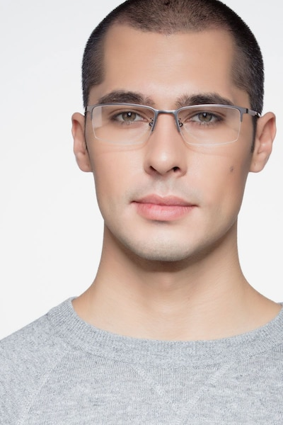 Vienna Gray Metal Eyeglass Frames for Men from EyeBuyDirect, Front View