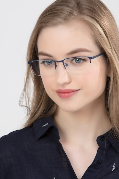 Vienna Navy Metal Eyeglass Frames for Women from EyeBuyDirect