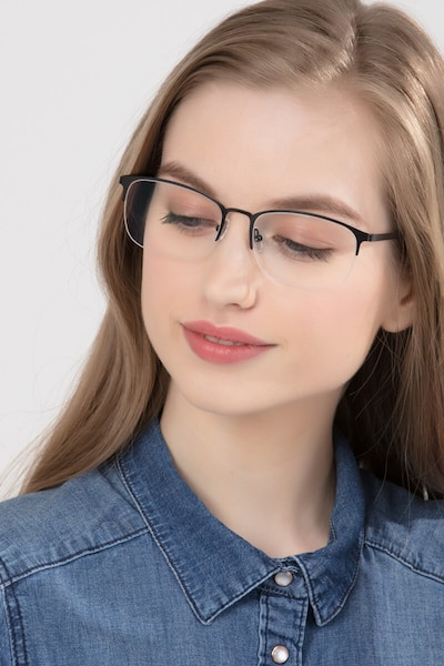 Paradox Black Metal Eyeglass Frames for Women from EyeBuyDirect, Front View