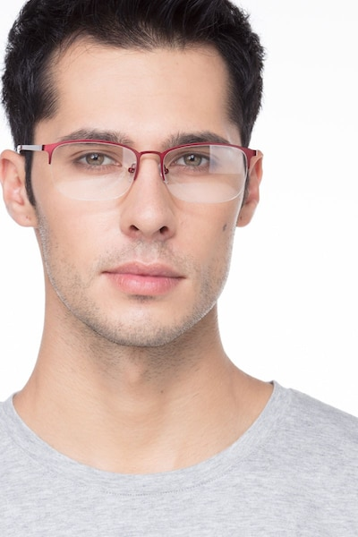 Paradox Red Metal Eyeglass Frames for Men from EyeBuyDirect, Front View