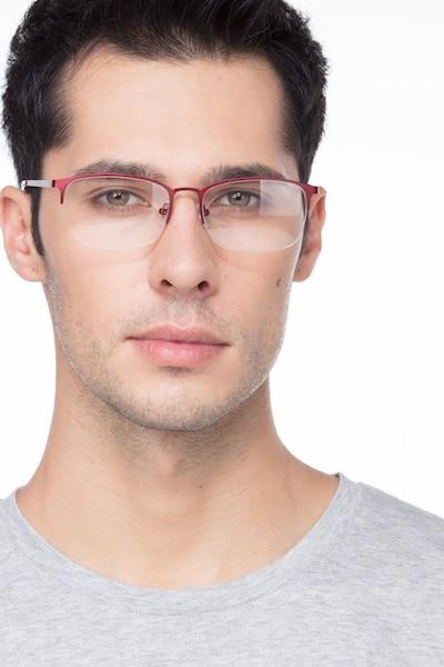 Paradox Rouge Métal Montures de Lunettes pour Hommes d'EyeBuyDirect, Vue de Face