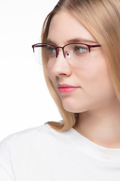 Paradox Red Metal Eyeglass Frames for Women from EyeBuyDirect, Front View